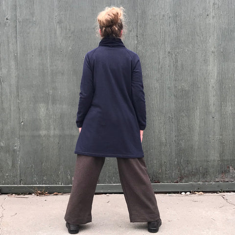 "Sherpa Fleece Turtleneck Sweater Dresses for Women in Navy. Model is 5'5.5"" or 166cm tall."