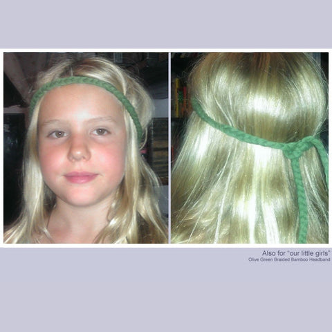 Braided Bamboo Headband in olive green. Little girls just love these braids too!