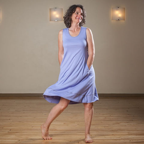 Clearance: Lilac Bamboo Dresses with Pockets Sizes Medium and Large only.