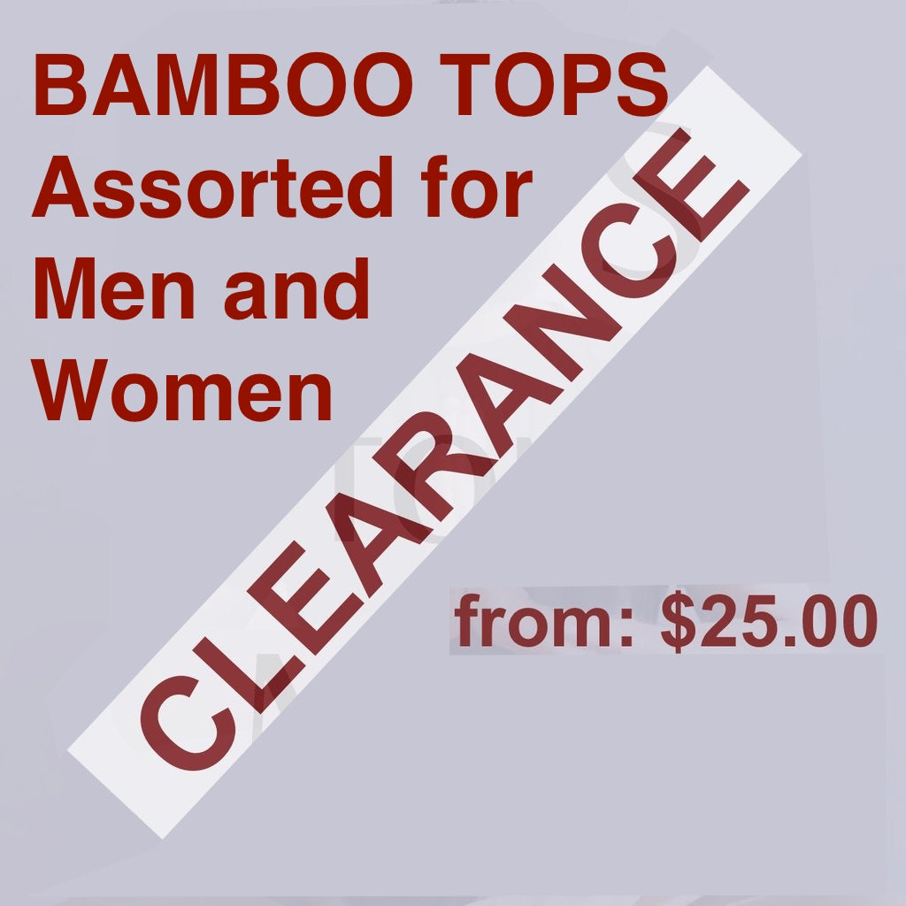 Bamboo TOPS CLEARANCE: Assorted Fabrics, Styles, Sizes