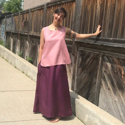 "SLEEVELESS TUNIC Colour/Size/Length: Dusty Rose/Medium/Shorter | LONG SKIRT Colour/Size/Length: Deep Plum/Regular Cut/Longer | Model is 5'5.5"" or 166cm"