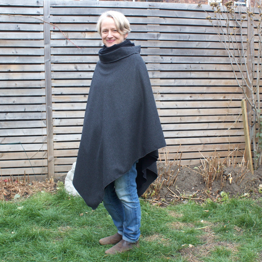 "2 Layers of DLD Versatility<br>Charcoal Woolen Over-Mantle worn with Black Sherpa Fleece Under-Mantle Underneath<br>model is 5'1"" or 155cm"
