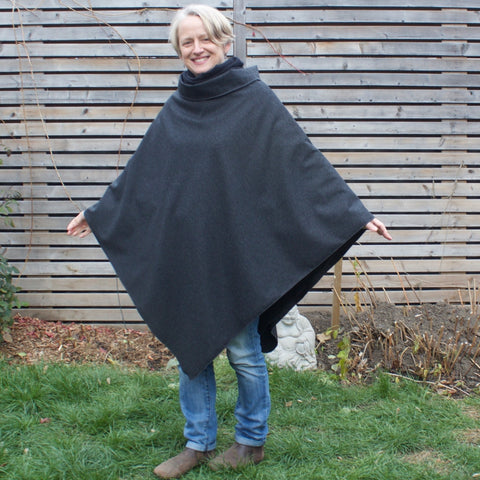 "2 Layers of DLD Versatility<br>Charcoal Woolen Over-Mantle worn with Black Sherpa Fleece Under-Mantle Underneath<br>Model is 5'1"" or 155cm."