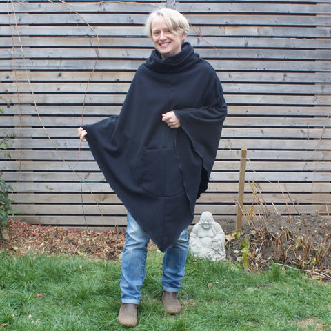 "Black Sherpa Fleece Under-Mantle worn alone *model is 5'1"" or 155cm."