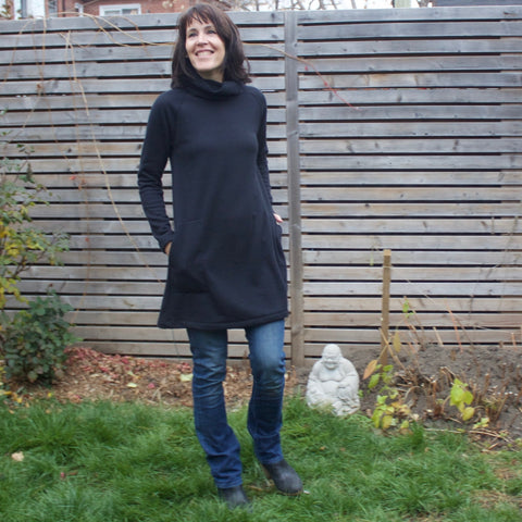 "Sherpa Fleece Turtleneck Sweater Dresses for Women in Black. Model is 5'8"" or 173cm tall."