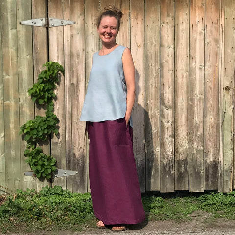 "SLEEVELESS TUNIC Colour/Size/Length: Antique Blue/Small/Shorter | LONG SKIRT Colour/Size/Length: Deep Plum/Regular Cut/Longer | Model is 5'5.5"" or 166cm"