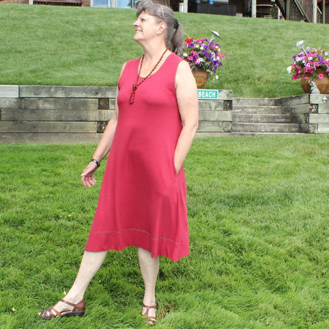 "Bamboo Dress in Burgundy<br>Photo taken at <a href=""http://www.professorslakeyoga.com"" target=""_blank"">Professor's Lake Yoga </a>in Brampton, Canada"