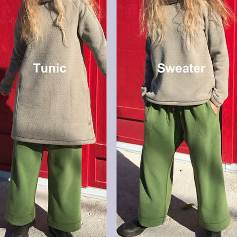 Length Comparison for the Tunics - with pockets, and Sweaters - without pockets (Sweaters available on their own page)