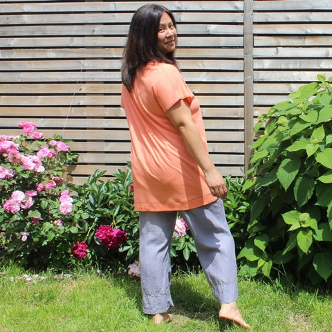 "Instant Elegance Relaxed T-Shirts colour: Coral (Dear Lil' Devas Classic Bamboo Jersey)<br><a href=""/products/linen-yoga-pants"" target=""_blank"">Linen Dream Pants </a>(Pure Woven Linen)"