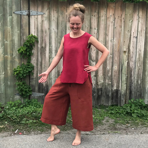 "Linen Culottes Regular Cut: Burnt Orange | Sleeveless Linen Tunic: Dark Cranberry, Small, Shorter Length. Model is 5'5.5"" or 166cm wearing the culottes very low on her hips."