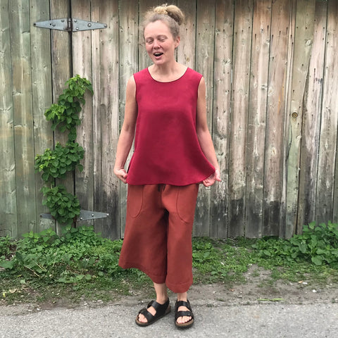 "Sleeveless Linen Tunic: Dark Cranberry, Small, Shorter Length | Linen Culottes Regular Cut: Burnt Orange |  Model is 5'5.5"" or 166cm"