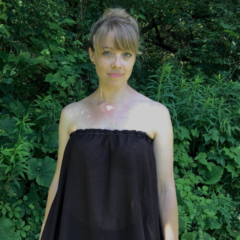 Light Weight Cotton Slip worn as a Halter Top in Darkest Espresso<br>Model Wears the slip as a halter top with the elastic tucked in at the side instead of around her neck. She has a bikini top on underneath.<br>Photo Credit: Jocelyn Connor
