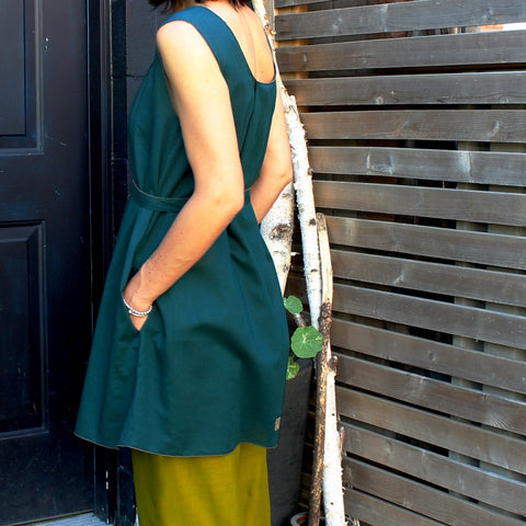 Deep Jade Smock, Shanti Green Original Light Weight Dream Pants Length 1. Model is 5'8""