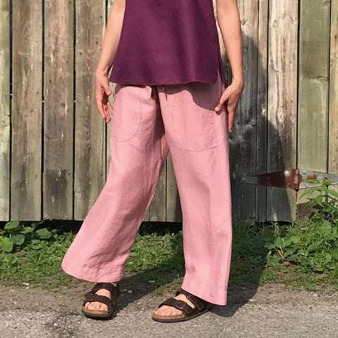 "Linen TOWN Pants Colour: Dusty Rose, (the top is Deep Plum). Trying to show the ""shuuntz"" or the ""shwooosh"" of the linen. Please watch the video for the best representation :-)"