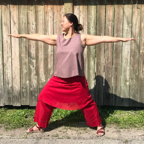 Reversible Sleeveless Tops Light Weight Cotton, Amethyst outside, Darkest Espresso inside, Deepest Red Original Dream Pants, Deepest Red Slip