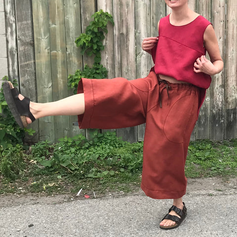 "Linen Culottes Regular Cut: Burnt Orange | Sleeveless Linen Tunic: Dark Cranberry, Small, Shorter Length. Model is 5'5.5"" or 166cm"