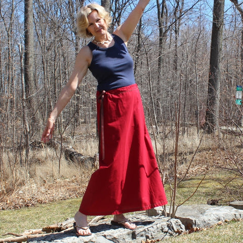 "Cotton Long Skirts in Garnet (formerly known as ""Paprika"")"