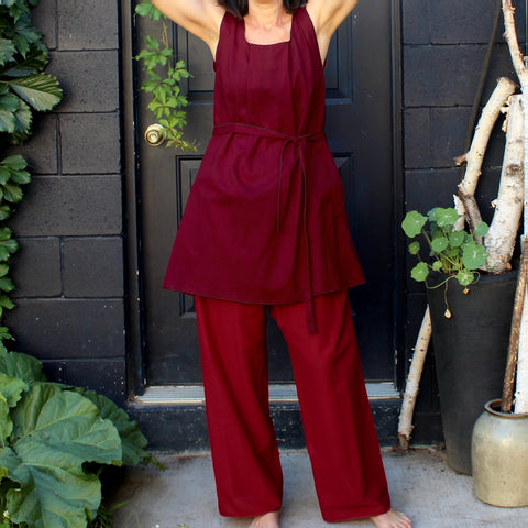 Maroon Smock, Deepest Red Original Light Weight Dream Pants Length 2. Model is 5'8""