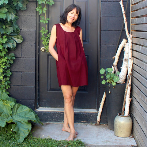 Maroon Smock. Model is 5'8""