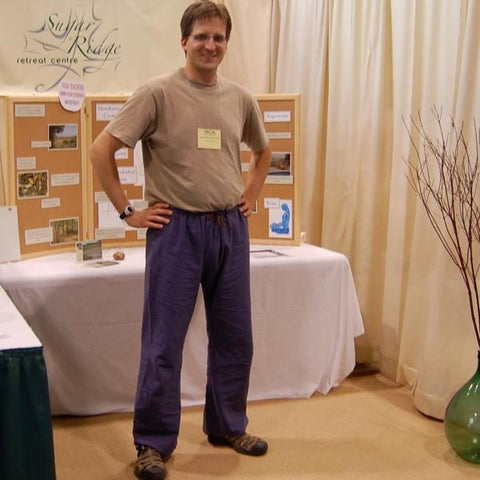 "Hemp Dream Pants: Loose-Fitting Yoga Pants for Men in Indigo<br>Pictured here: Kurt Frost of <a href=""http://www.sugarridge.ca"" target=""_blank"">Sugar Ridge Retreat Centre </a>Wyebridge, Ontario"