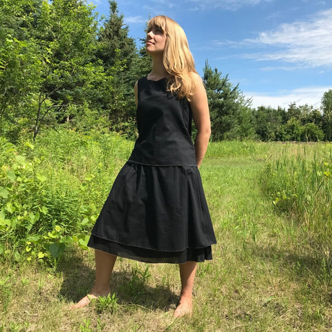 2 Light Weight Cotton Slips in Black - shorter length and longer length layered together as a skirt, Reversible Sleeveless Tops in Black and Deep Jade on the other side