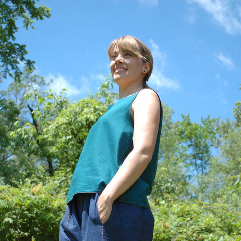 Reversible Sleeveless Tops Light Weight Cotton in Deep Jade (Black is on the other side although you can't see it)<br>Photo Credit: Jocelyn Connor