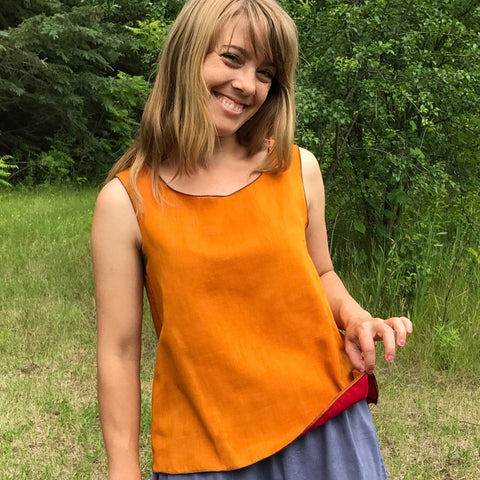 Reversible Sleeveless Tops Light Weight Cotton, Sattvic Orange outside, Deepest Red inside<br>Photo Credit: Jocelyn Connor