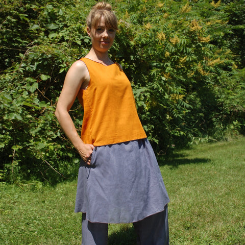 Reversible Sleeveless Tops Light Weight Cotton, Sattvic Orange outside, Deepest Red inside, Steel Blue Original Dream Pants, Steel Blue Slip<br>Photo Credit: Jocelyn Connor