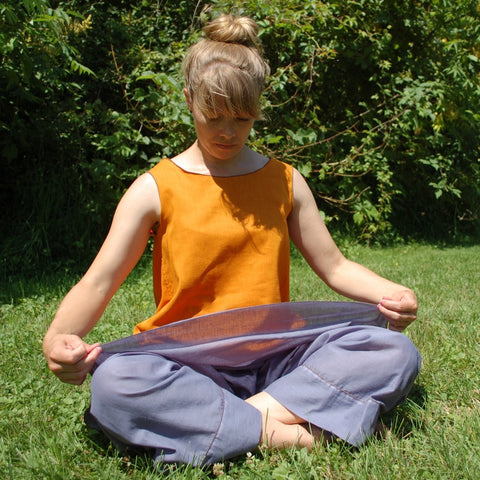 Light Weight Cotton Slip in Steel Blue, Reversible Sleeveless Tops Light Weight Cotton, Sattvic Orange outside, Deepest Red inside, Steel Blue Original Dream Pants<br>Photo Credit: Jocelyn Connor