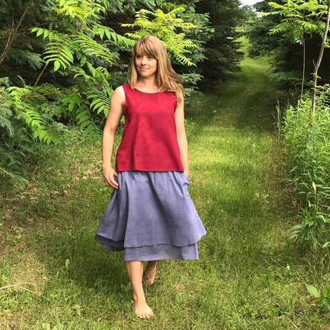 Reversible Sleeveless Tops Light Weight Cotton in Maroon, 2 Steel Blue Slips (worn as a skirt), the top one is the shorter length with pockets, the underneath slip is the longer length without pockets