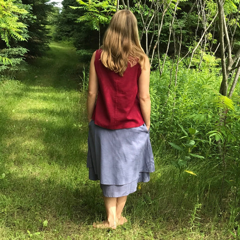 2 Light Weight Cotton Slips in Steel Blue - shorter length with pockets and longer length without pockets layered together as a skirt, Reversible Sleeveless Top in Maroon with Steel Blue on the inside