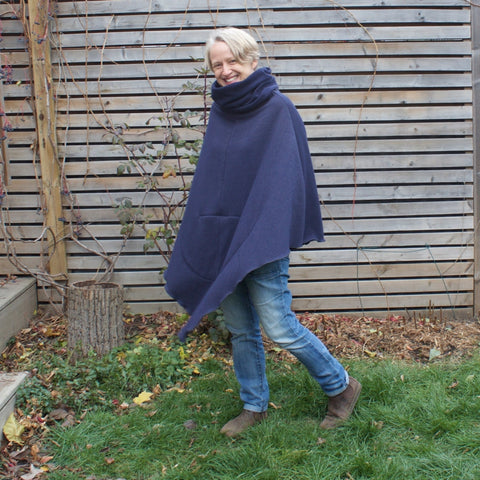 "Navy Sherpa Fleece Under-Mantle worn alone *Model is 5'1"" or 155cm."