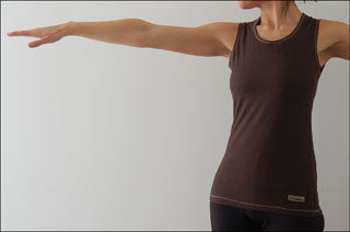Clearance: Discontinued XL Chocolate Brown Bamboo Tank Tops with Contrasting Stitching