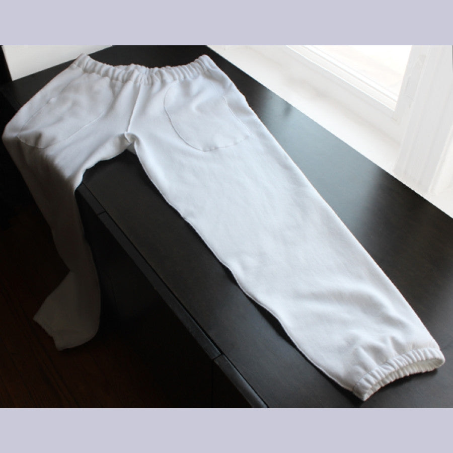 Pure White Cotton Classic Track Pants for Women