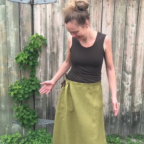 "Linen Long Skirt in Shanti Green, Skirt Size is Regular Cut, Model's hip size is 38""/96.5cm"