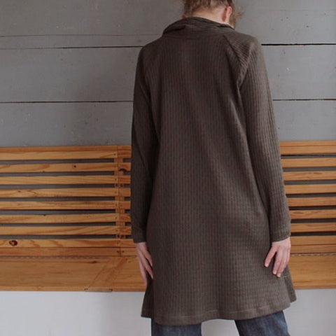 Dark Brown (some people see the dark brown fabric as more dark green than dark brown) 100% Cotton Sweater Dress