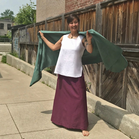 "SLEEVELESS TUNIC Colour/Size/Length: Pure White/Medium/Shorter | Linen Long SKIRT in Deep Plum Regular Cut | Linen SHAWL in Tarnished Copper | Model is 5'5.5"" or 166cm"