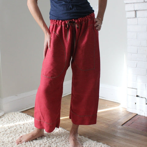 "Thicker Linen Dream Pants in Cranberry. The length shown here is Length 1. The model (height 5'8"") wears them ""as capris"". Please see the size tab for help choosing your length."