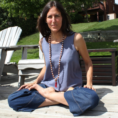 "Reversible Sleeveless Tops Light Weight Cotton, Steel Blue outside, Maroon inside, Denim Dream Pants for Women, Darker Denim<br>Photo taken at <a href=""http://www.professorslakeyoga.com"" target=""_blank"">Professor's Lake Yoga </a>in Brampton, Canada<br>Model is Annette Garcia of <a href=""http://www.freespirit-yoga.ca/community"" target=""_blank"">Free Spirit Yoga, Mississauga </a>"