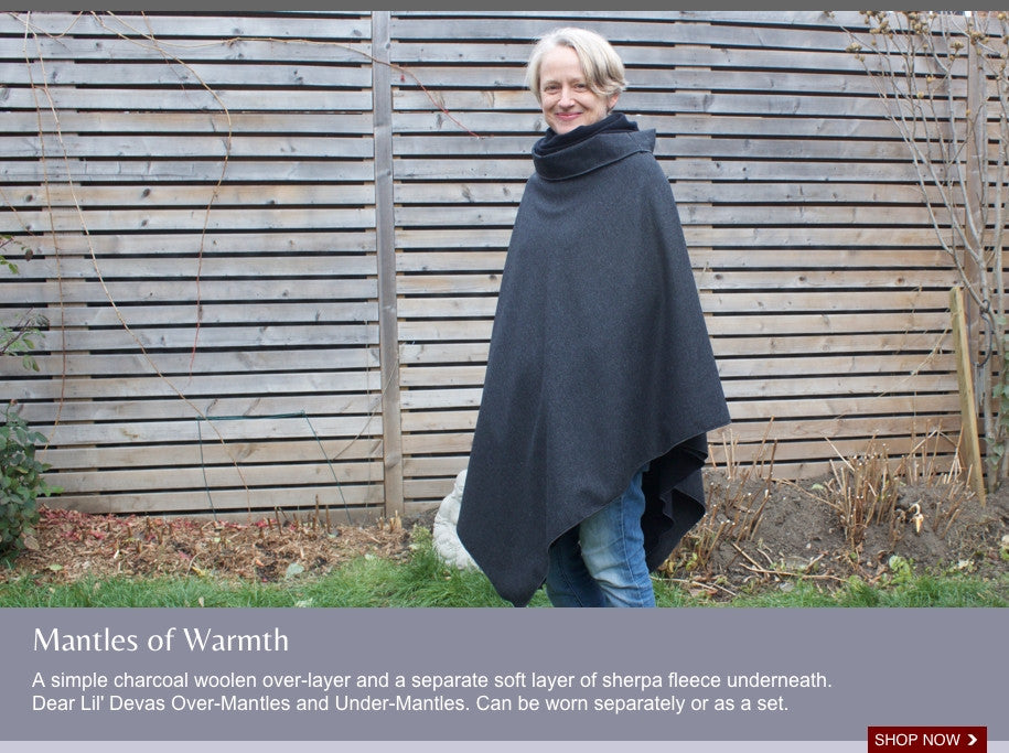 A simple charcoal woolen cape over-layer and a separate soft layer cape sherpa fleece underneath.  Dear Lil' Devas Over-Mantles and Under-Mantles. Can be worn separately or as a set.