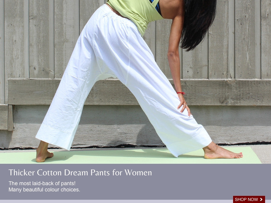 loose-fitting, modest yoga pants for women. 100% cotton in white, and many beautiful colours