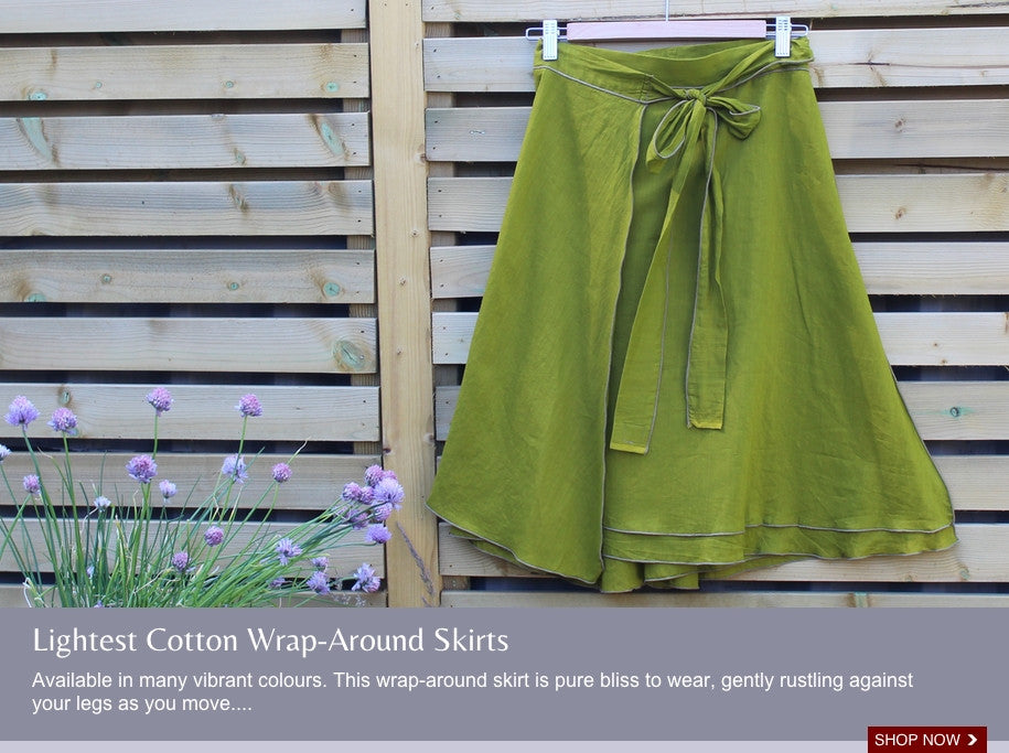 Available in many vibrant colours. This wrap-around skirt is pure bliss to wear, gently rustling against your legs as you move...
