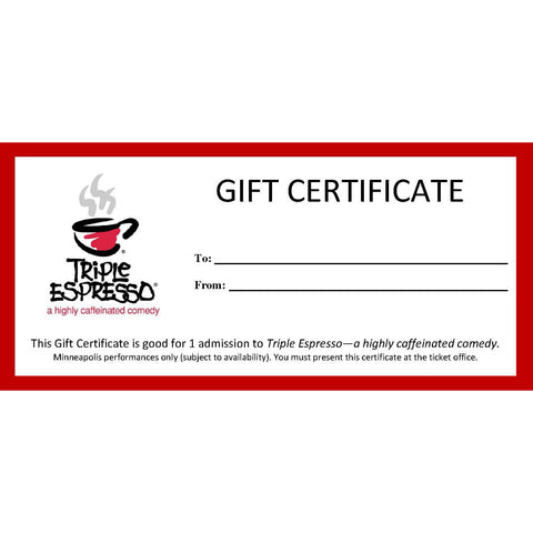 Performance Gift Certificate - Minneapolis