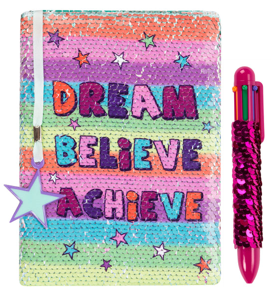 Sequin Notebook - Dream Believe Achieve