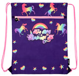 Customised Drawstring Bag - Purple Unicorns