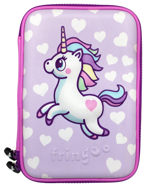 Hardtop Pencil Case - Purple Hearts Unicorn