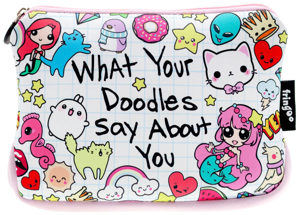 Large Printed Pencil Case - What Doodles Says