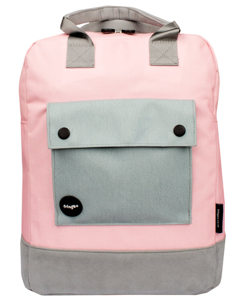 Grey and Pink Teen Backpack Front