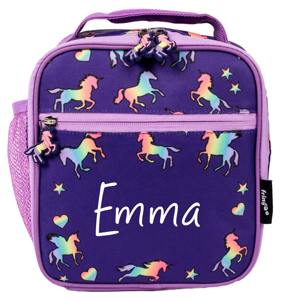 Customised Lunch Bag - Purple Unicorns