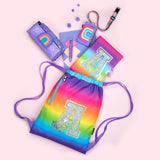 Personalised Strap Drawstring Bags - Rainbow